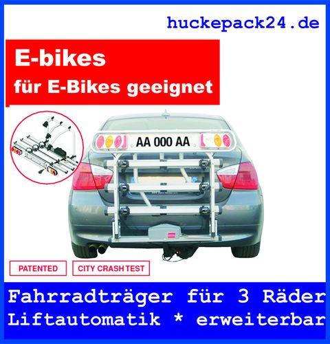 Fahrradträger 3 Fahrräder Anhängerkupplung absenkbar hochklappbar Liftautomatik