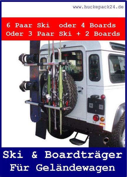 Skiträger + Snowboardträger Montage am Ersatzrad Geländewagen Gringo Ski & Board