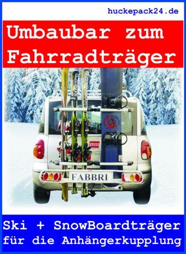 Skiträger Snowbordträger Anhängerkupplung absenkbar hochklappbar Liftautomatik