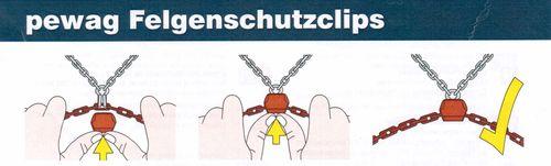 Schneeketten Felgenschutz Alufelgen Schutz Nachrüstsatz 8 Clips für Schneeketten
